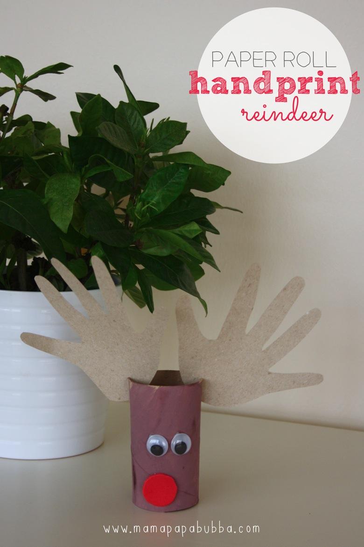 Paper Roll Handprint Reindeer | Mama Papa Bubba