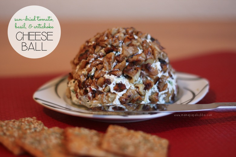 Sun Dried Tomato Basil  Artichoke Cheese Ball | Mama Papa Bubba