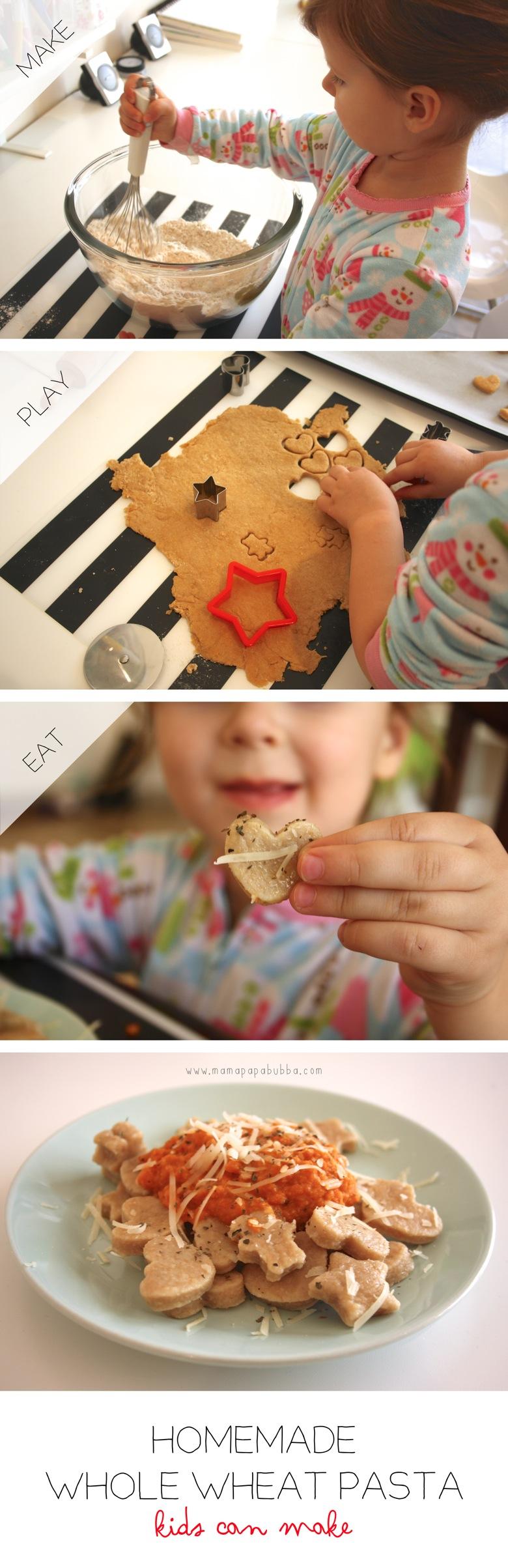 Homemade Whole Wheat Pasta Kids Can Make | Mama Papa Bubba