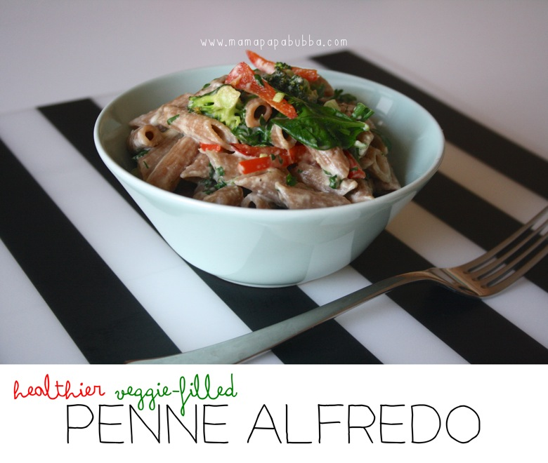 Healthier Veggie Filled Penne Alfredo | Mama Papa Bubba