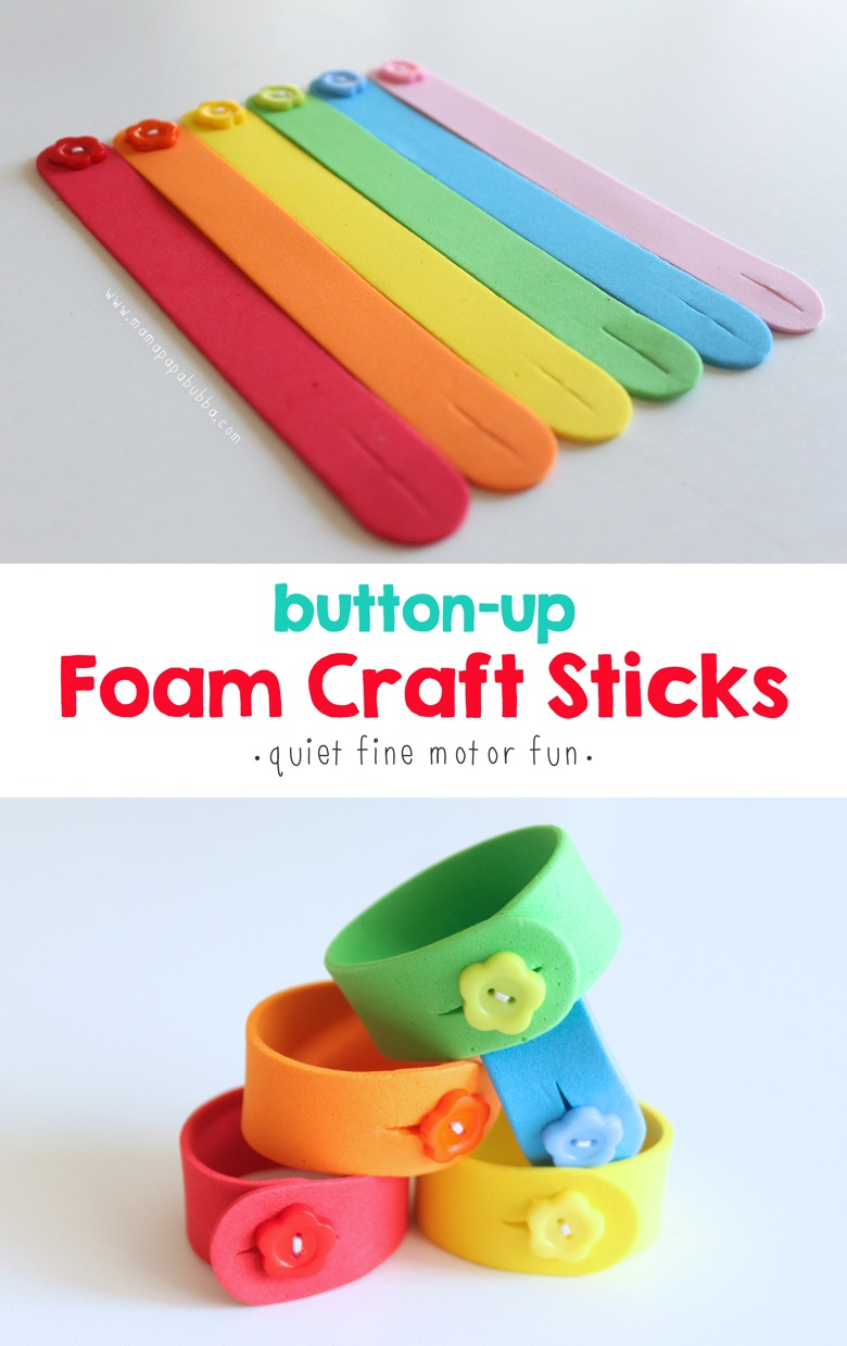 Button Up Foam Craft Sticks | Mama Papa Bubba