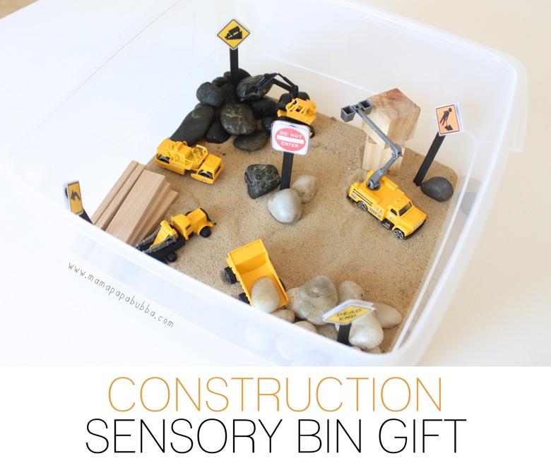 Construction Sensory Bin Gift | Mama Papa Bubba