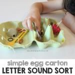Simple Egg Carton Letter Sound Sort