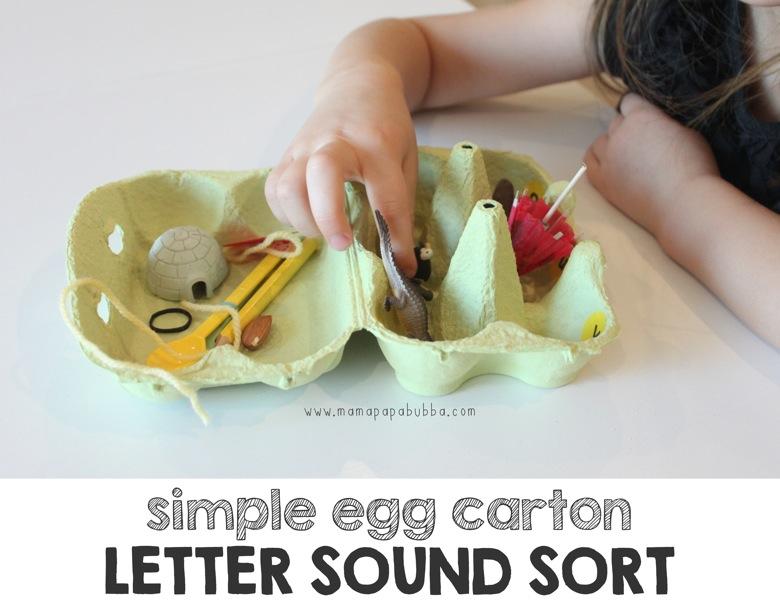 Simple Egg Carton Letter Sound Sort | Mama Papa Bubba