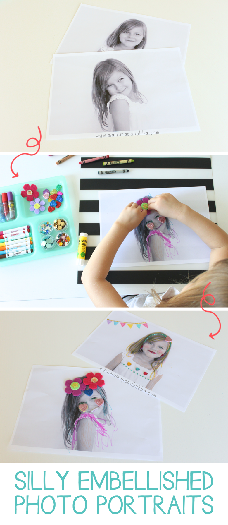 Silly Embellished Photo Portraits | Mama Papa Bubba