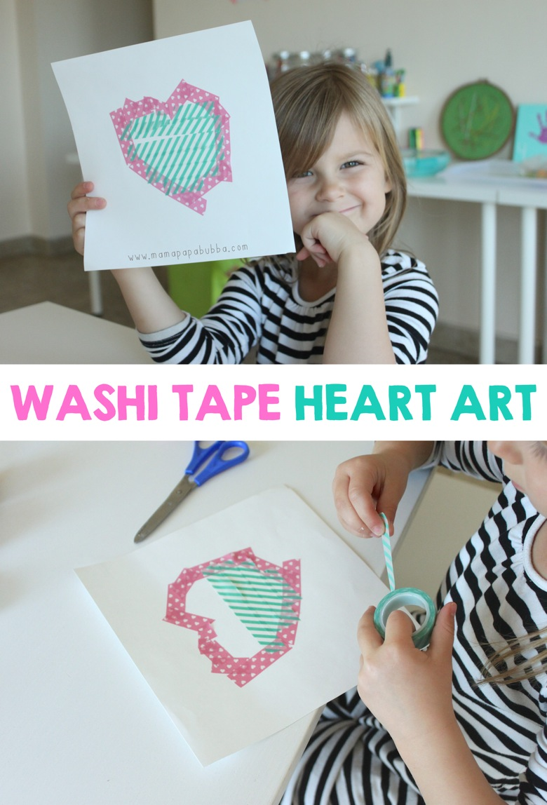 Washi Tape Heart Art | Mama Papa Bubba
