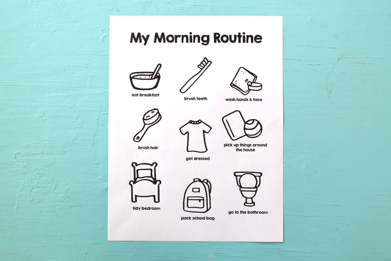 It is a picture of Morning Routine Printable for checklist