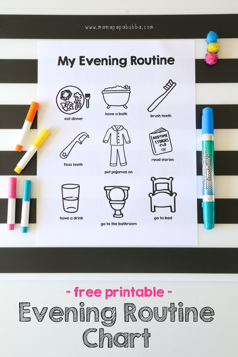 Printable Evening Routine Chart | Mama Papa Bubba