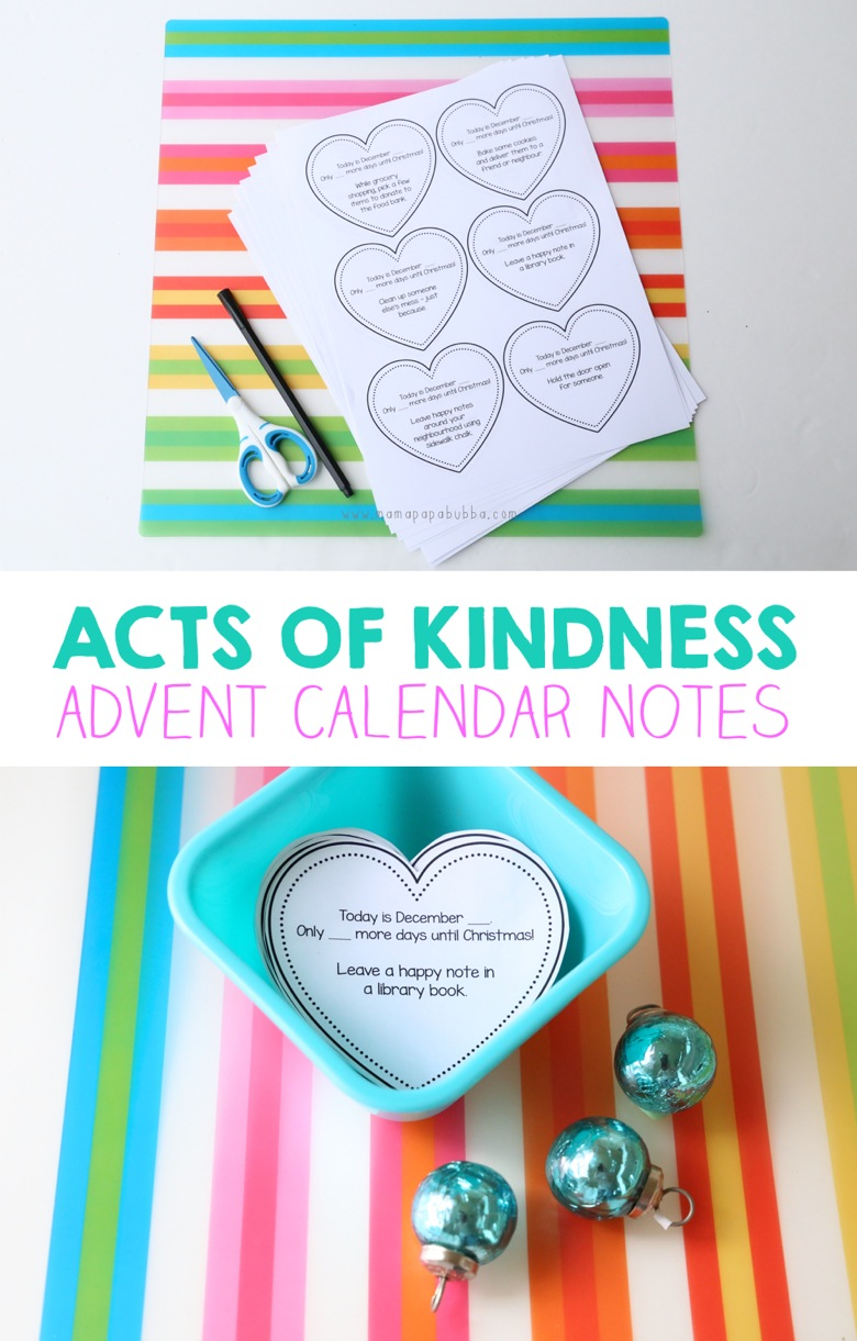 Acts of Kindness Advent Calendar Notes | Mama Papa Bubba