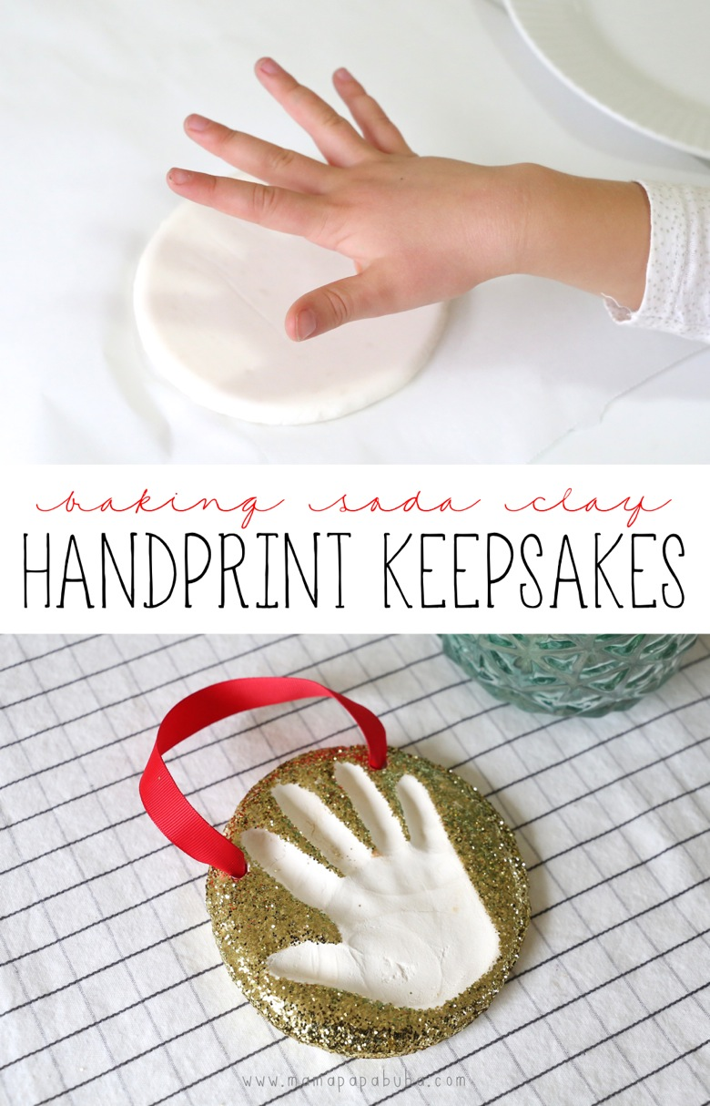 Baking Soda Clay Handprint Keepsakes | Mama Papa Bubba