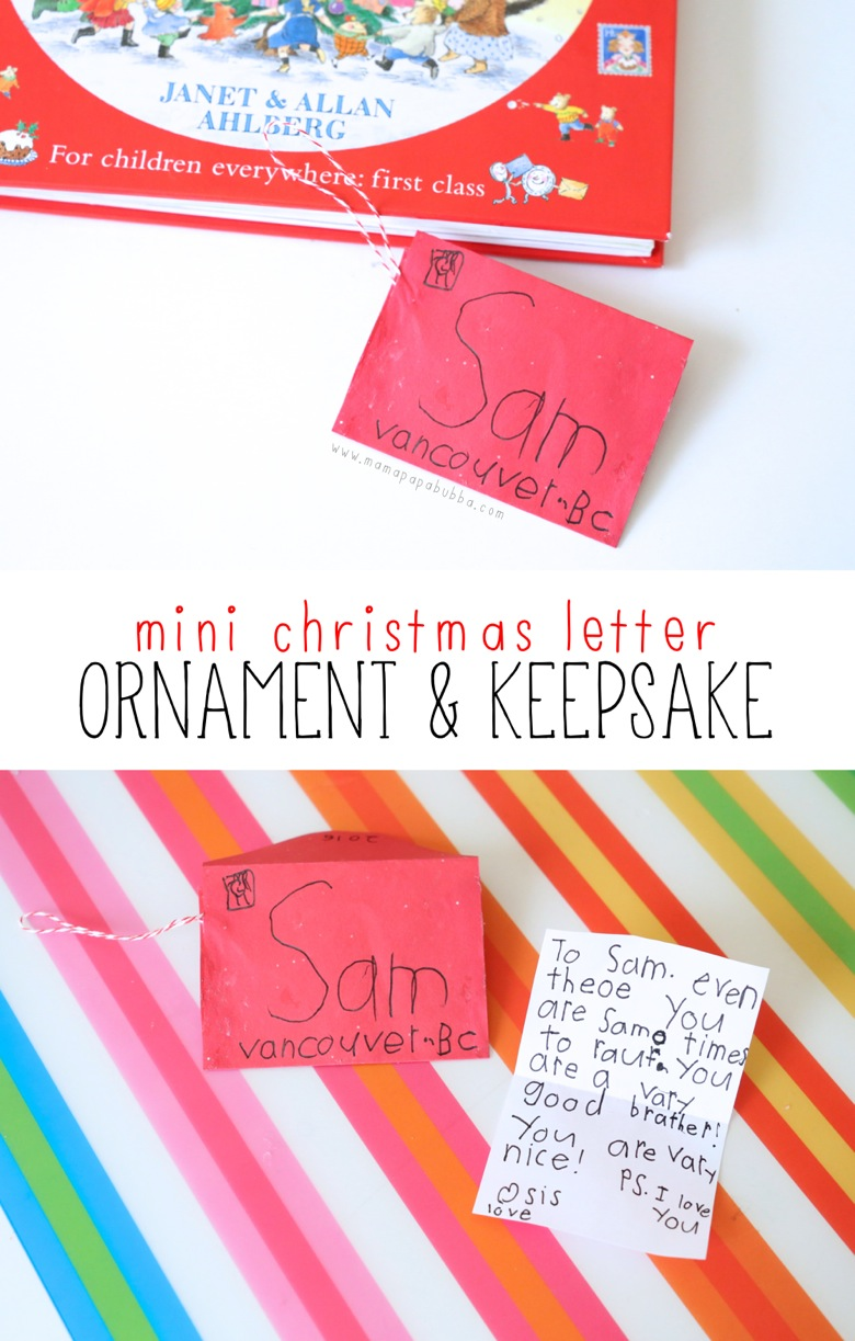 Mini Christmas Letter Ornament Keepsake | Mama Papa Bubba