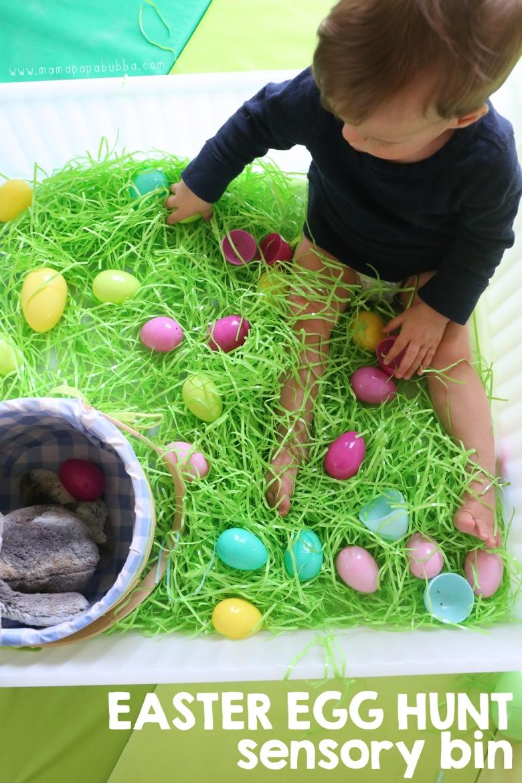 Easter Egg Hunt Sensory Bin | Mama Papa Bubba