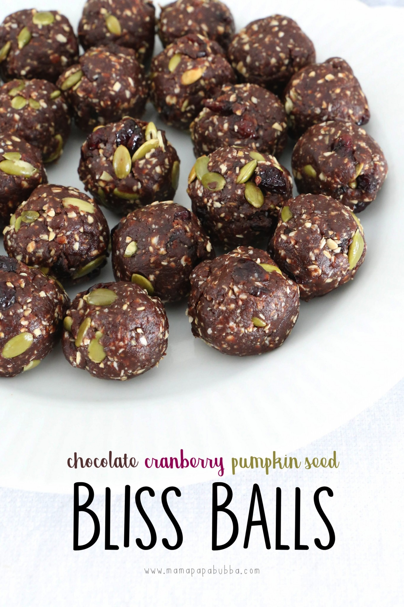 Chocolate Cranberrry Pumpkin Seed Bliss Balls | Mama Papa Bubba 2