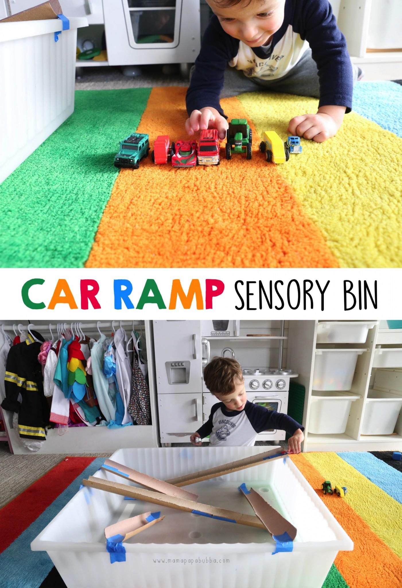 Car Ramp Sensory Bin | Mama Papa Bubba