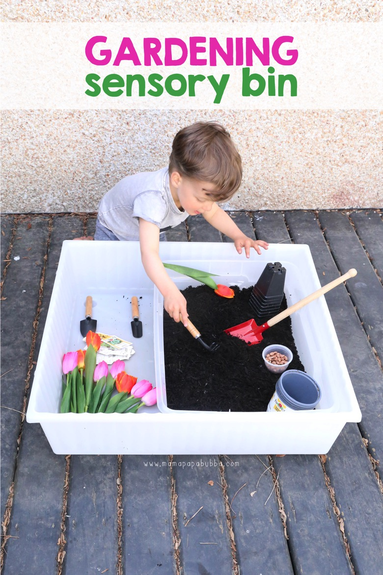 Gardening Sensory Bin | Mama Papa Bubba Blog