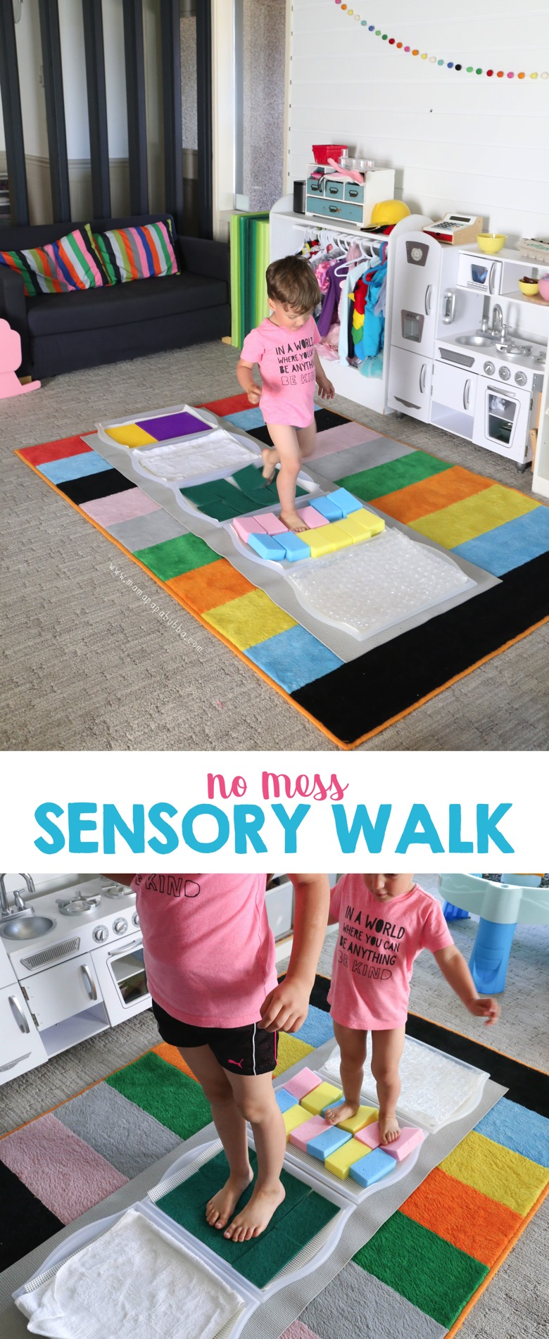 No Mess Sensory Walk Activity | Mama Papa Bubba