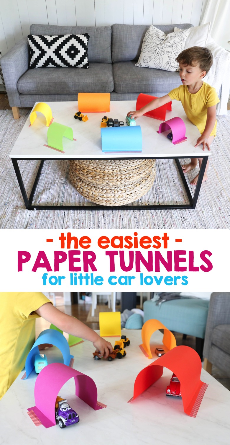 The Easiest Paper Tunnels for Little Car Lovers | Mama Papa Bubba
