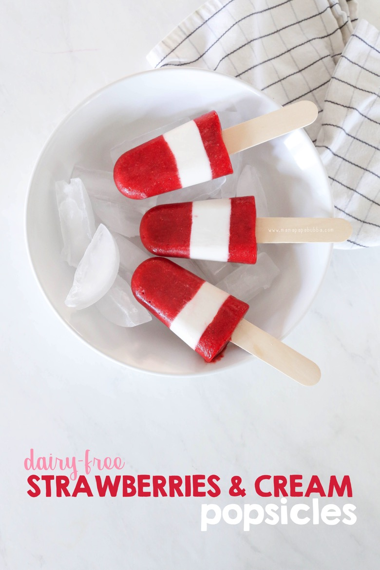 Dairy Free Strawberries and Cream Popsicles | Mama Papa Bubba