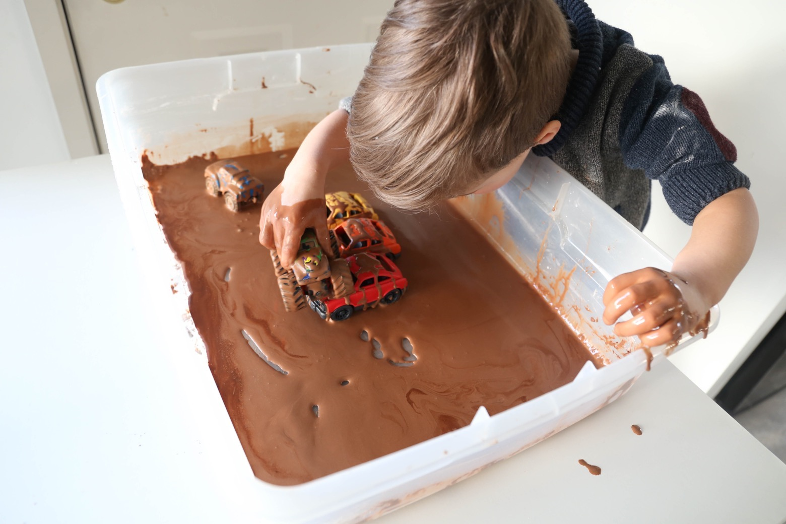 Muddy Monster Truck Sensory Bin | Mama.Papa.Bubba.
