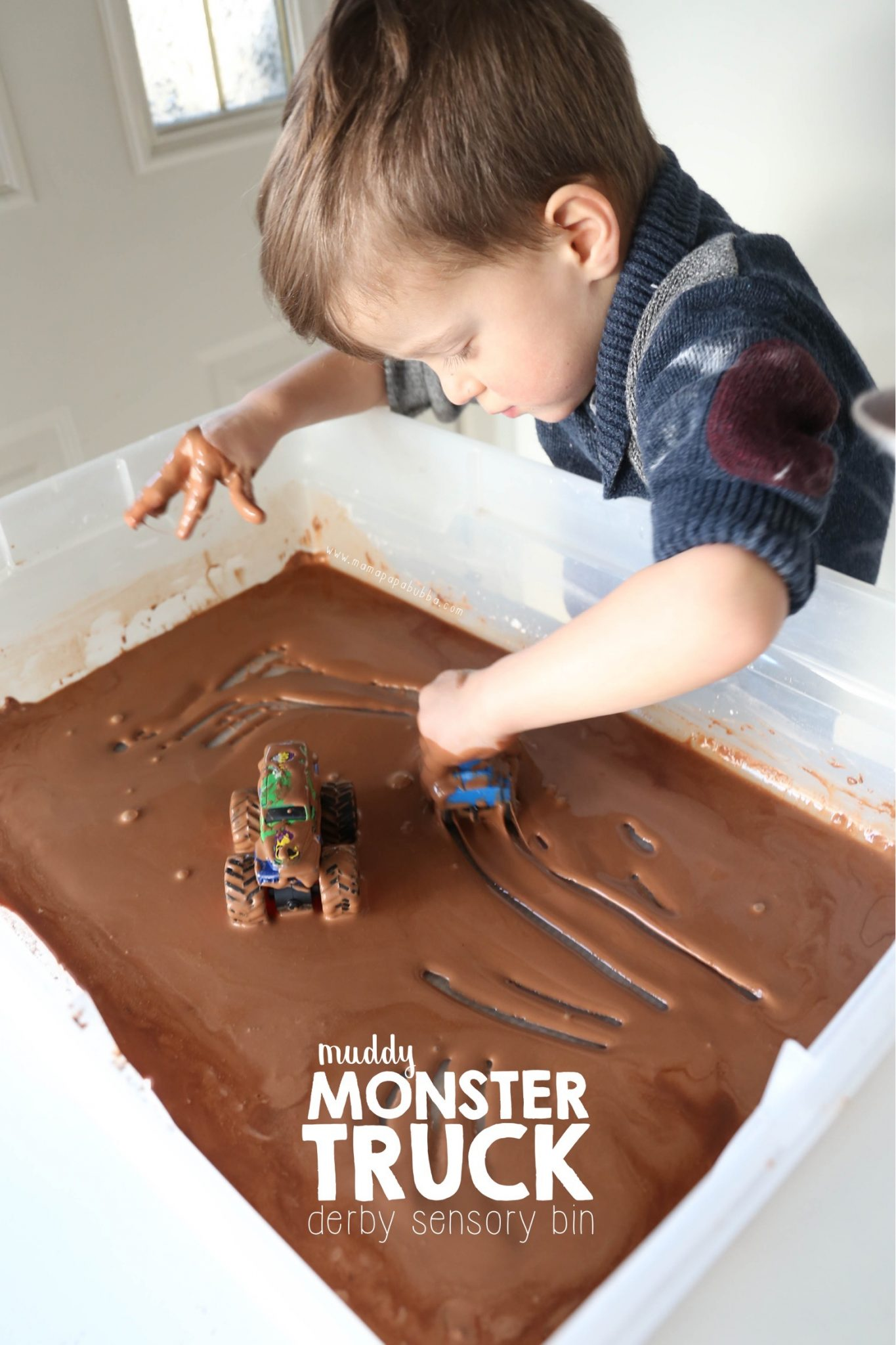 Muddy Monster Truck Derby Sensory Bin | Mama Papa Bubba