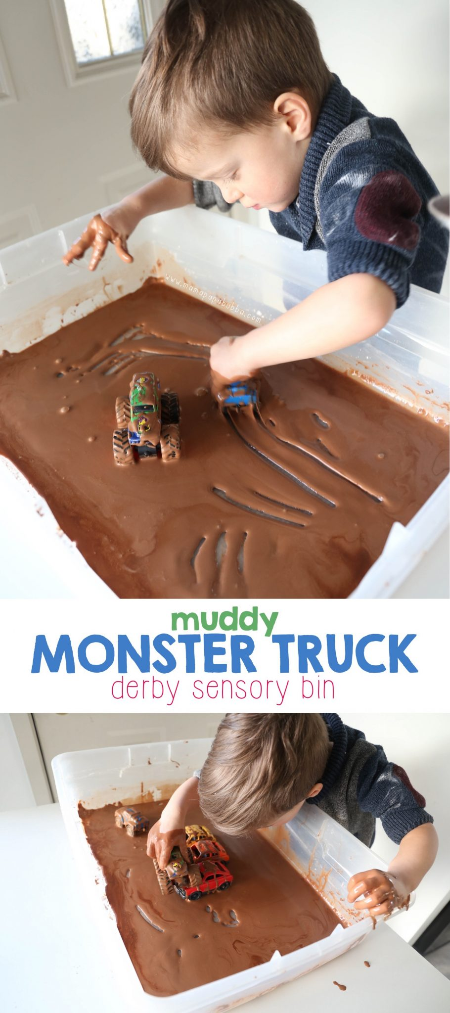 Muddy Monster Truck Derby Sensory Play | Mama Papa Bubba