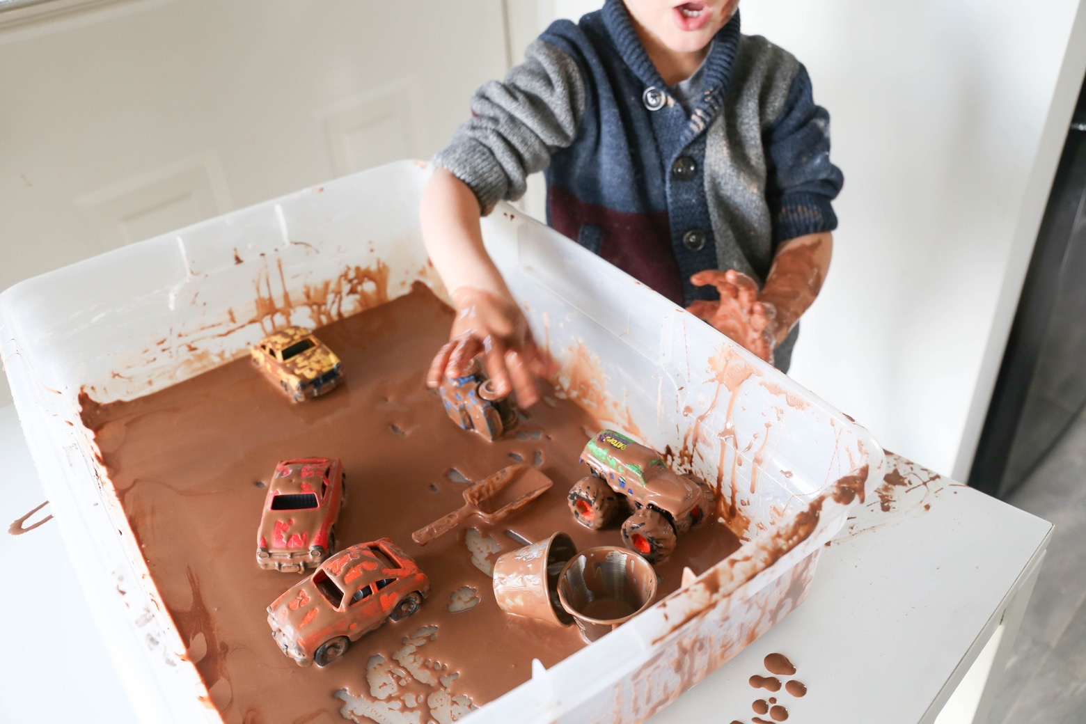 Muddy Monster Truck Derby Sensory Bin | Mama.Papa.Bubba.