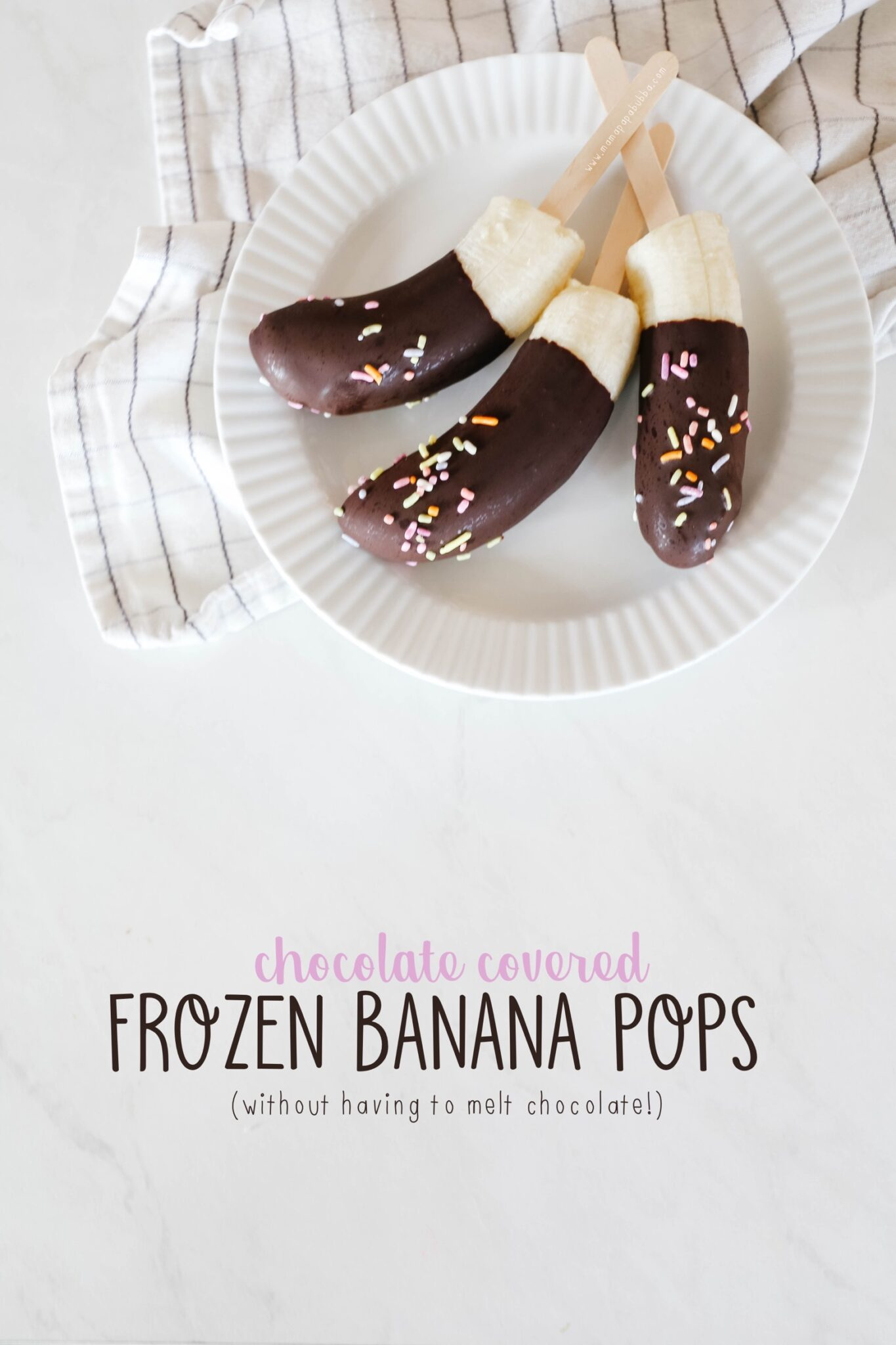 Chocolate Covered Frozen Banana Pops | Mama Papa Bubba