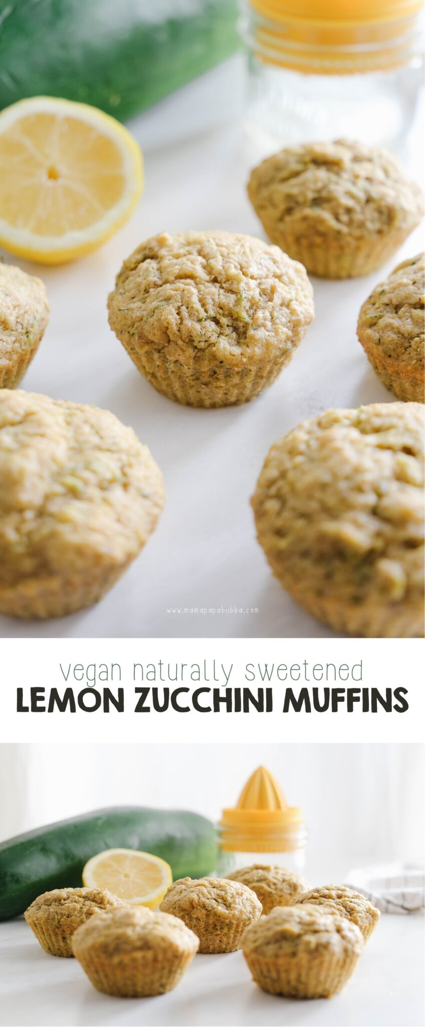 Vegan Naturally Sweetened Lemon Zucchini Muffins | Mama Papa Bubba