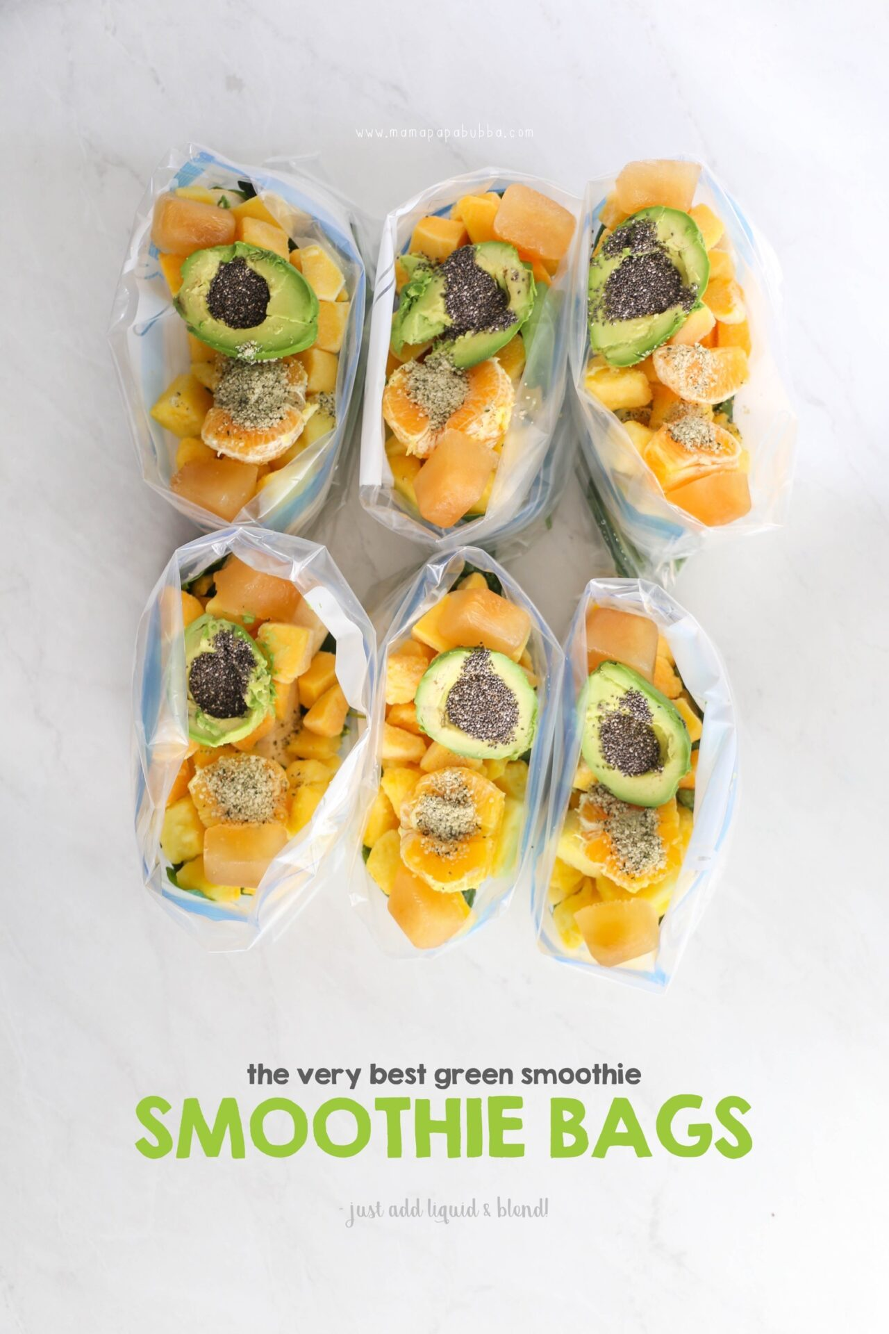 The Very Best Green Smoothie Smoothie Bags | Mama Papa Bubba
