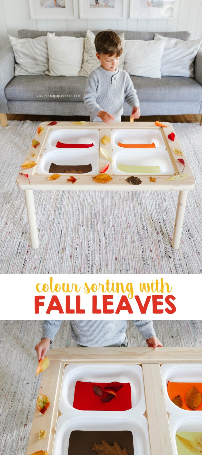Colour Sorting With Fall Leaves | Mama Papa Bubba