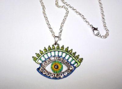 Evil Eye Pendant Swarovski Crystal hand painted with green glass eye - Swarovski Crystal colorful Eye necklace
