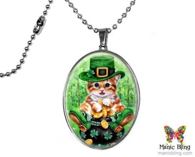 Large Lucky Cat Pendant St. Patrick's Day