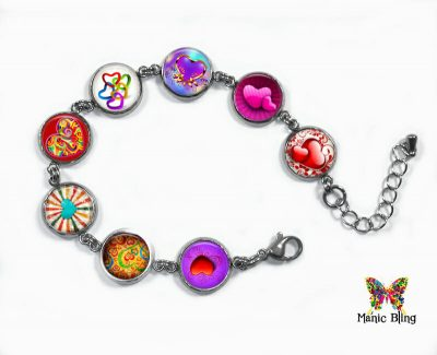 Valentine Heart Glass Photo Bracelet