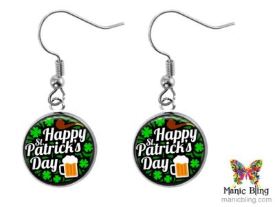 St Patricks Beer Dangle Earrings