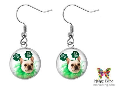 Lucky Bulldog Earrings St. Patrick's Day