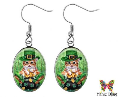 St. Patrick's Cat Earrings