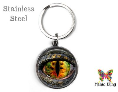 Green Gold Dragon Eye Keyring Men's Keyrings