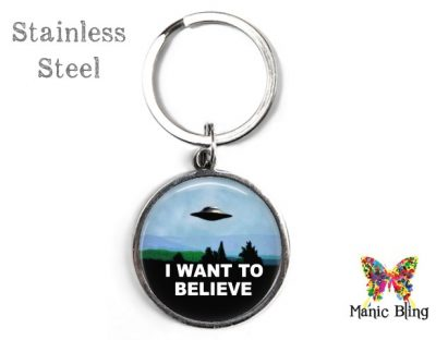 I Want to Believe UFO Keyring Men's Keyrings
