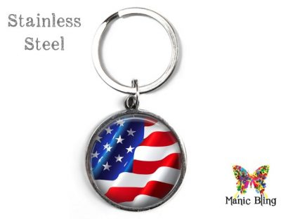 American Flag Keyring