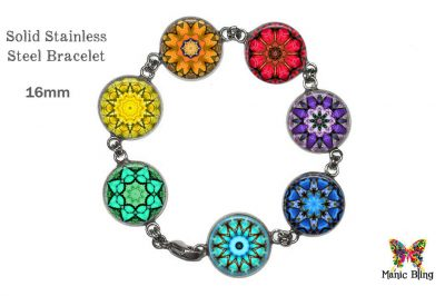Chakra Mandela Glass Photo Bracelet