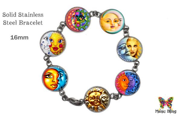 Sun Moon Glass Photo Celestial Bracelet