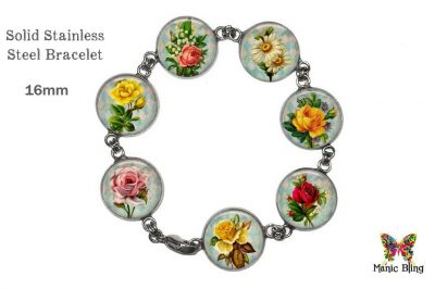 Vintage Flowers Colorful Glass Photo Bracelet