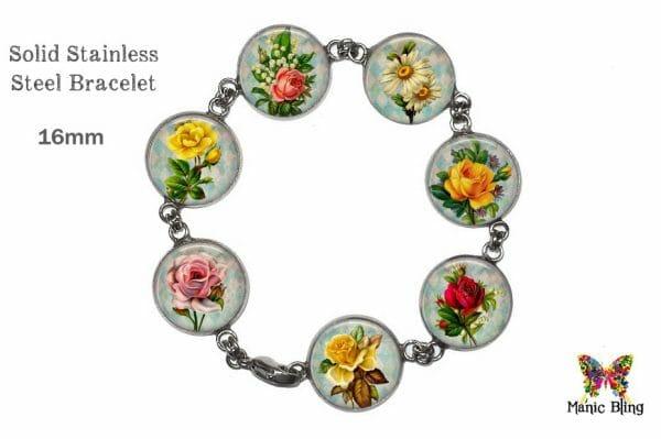 Vintage Flowers Colorful Glass Photo Bracelet