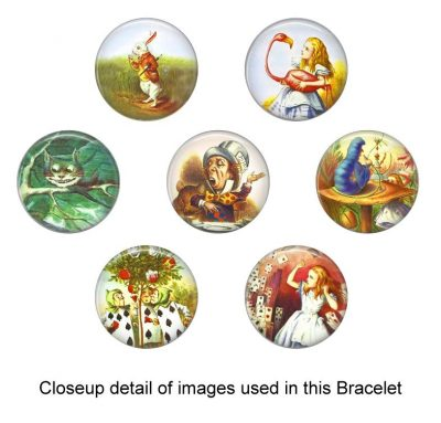 Alice in Wonderland Glass Photo Bracelet