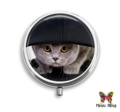 Gray Cat Pill Box Pill Boxes