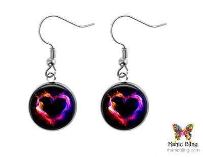 Flaming Heart Small Dangle Earrings