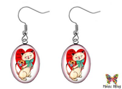 Vintage Cat Valentine Earrings