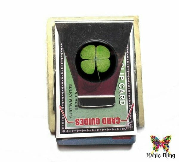 4 Leaf Clover Money Clip Card Holder