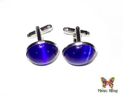 Royal Blue Fiber Optic Cats Eye Cufflinks [category]