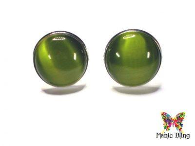 Olive Green Fiber Optic Cats Eye Cufflinks